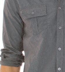 191 Unlimited Men's Dark Grey Stripe Button Front Shirt - Thumbnail 2