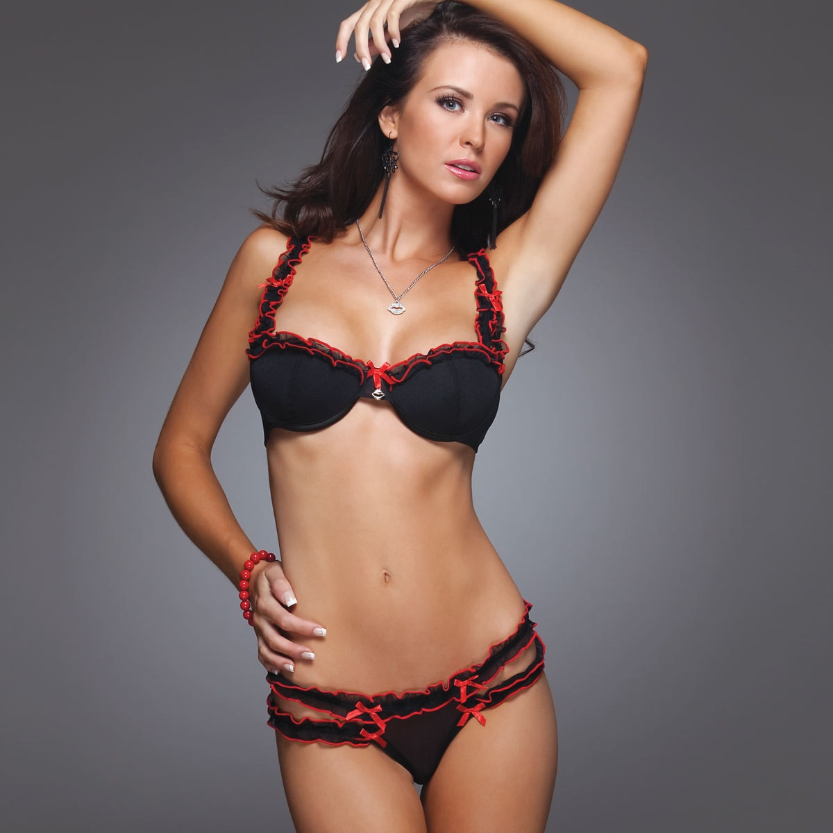 Women's Mesh Bra and Ruffle Thong Lingerie Set