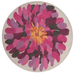 Hand-tufted Contemporary /Pink Bostor New Zealand Wool Abstract Rug (8' Round)