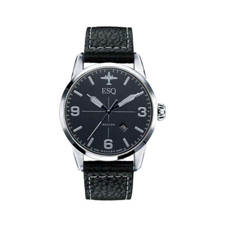 ESQ Men's Swiss Black Leather Strap Watch