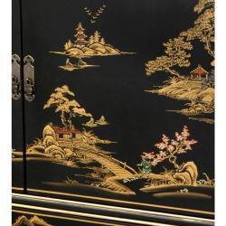 Handmade Black Lacquer Landscape Dresser (China)