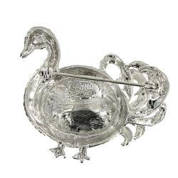 Swan Design Brooch with Crystal Moonlight Stones