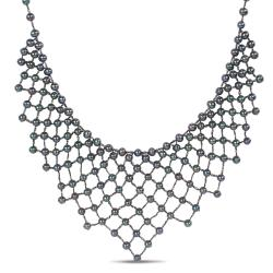 Miadora Sterling Silver Peacock FW Pearl 20-inch Necklace (5-5.5 mm)