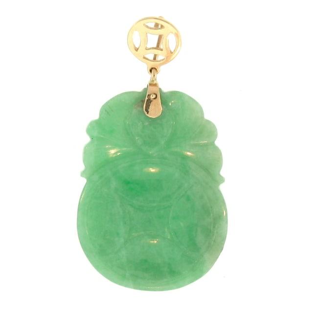 Mason Kay 14k Yellow Gold Green Jadeite Carved Pendant