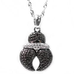 De Buman Sterling Silver Black Diamond Accent Fashion Necklace