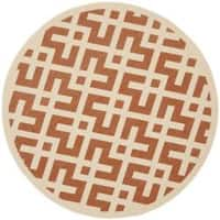 "Safavieh Courtyard Contemporary Terracotta/ Bone Indoor/ Outdoor Rug - 6'7"" x 6'7"" round"