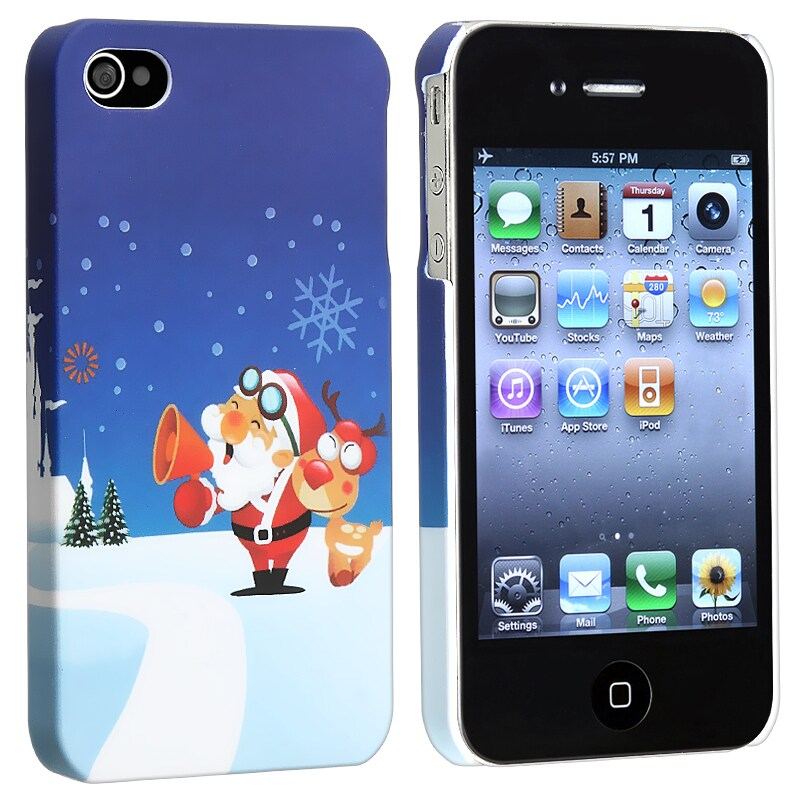 BasAcc Santa Claus Snap-on Rubber Coated Case for Apple iPhone 4/ 4S