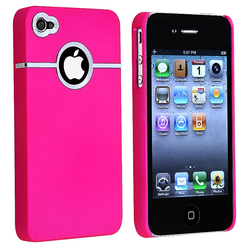 BasAcc Pink/ Chrome Hole Rubber Coated Case for Apple iPhone 4/ 4S