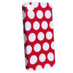 BasAcc Red with White Dot Snap-on Case for Apple iPhone 4/ 4S - Thumbnail 1
