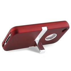 BasAcc Red/ Chrome Stand Snap-on Case for Apple iPhone 4/ 4S