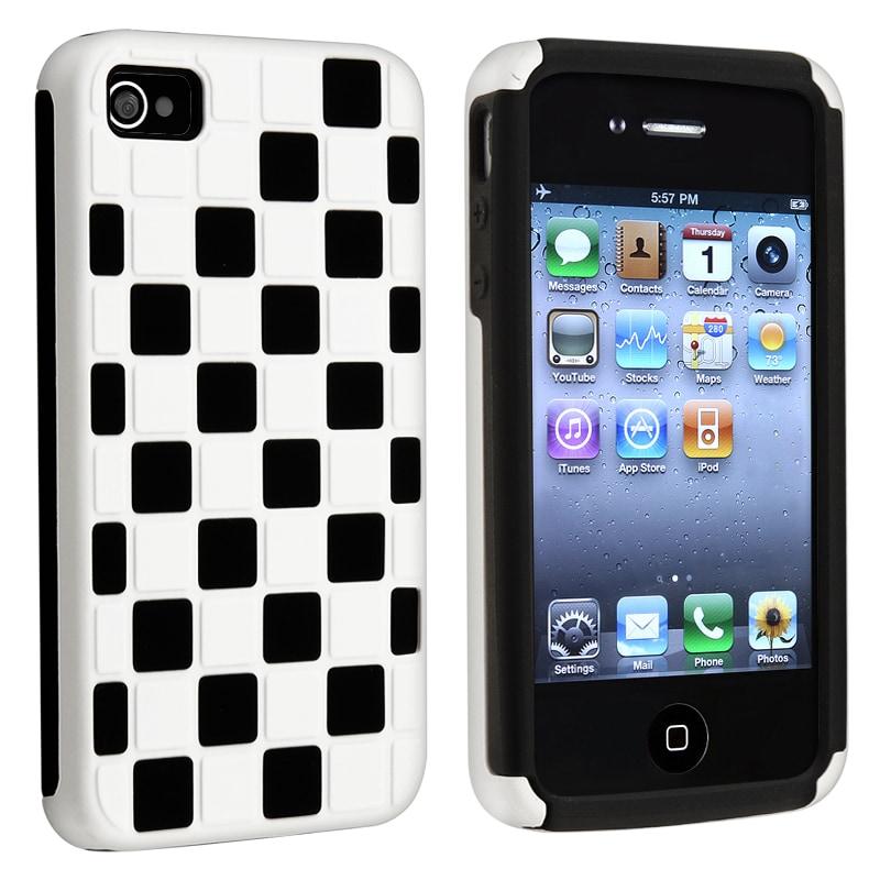 BasAcc Black/ White Checker Hybrid Case for Apple iPhone 4/ 4S