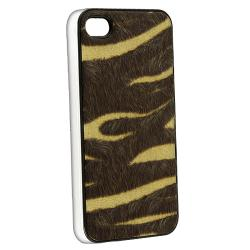 BasAcc Yellow/ Brown Zebra Feather Snap-on Case for Apple iPhone 4/ 4S