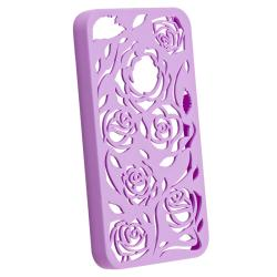 BasAcc Dark Purple Rose Snap-on Case for Apple iPhone 4/ 4S - Thumbnail 1