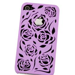 BasAcc Dark Purple Rose Snap-on Case for Apple iPhone 4/ 4S - Thumbnail 2