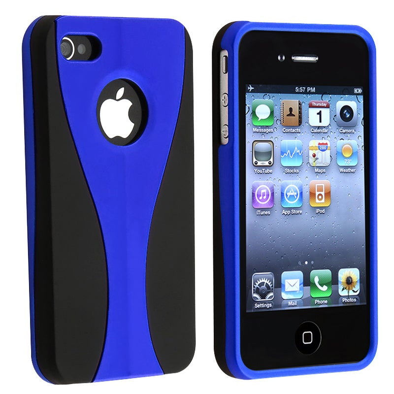 BasAcc Blue/ Black Cup Shape Snap-on Case for Apple iPhone 4/ 4S
