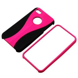 BasAcc Hot Pink/ Black Rubber Coated Case for Apple iPhone 4/ 4S - Thumbnail 1