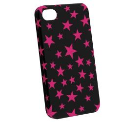 BasAcc Black/ Hot Pink Star Rubber Coated Case for Apple iPhone 4/ 4S - Thumbnail 1