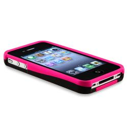 BasAcc Hot Pink/ Black Rubber Coated Case for Apple iPhone 4/ 4S - Thumbnail 2