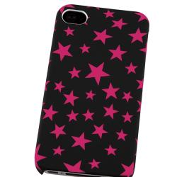BasAcc Black/ Hot Pink Star Rubber Coated Case for Apple iPhone 4/ 4S - Thumbnail 2