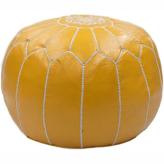 Tremendous Handmade Casusal Living Yellow Leather Moroccan Ottoman Pouf Machost Co Dining Chair Design Ideas Machostcouk