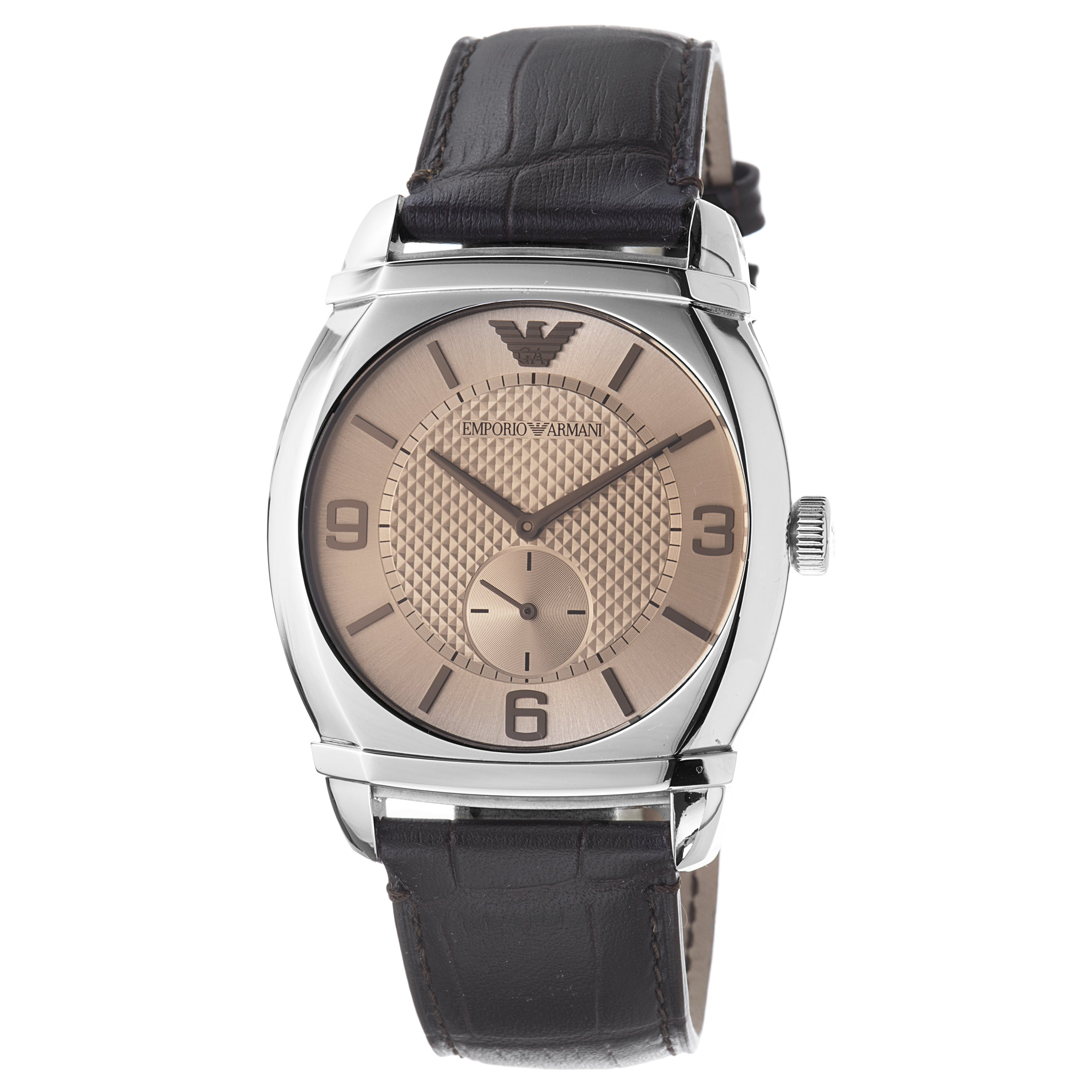 Emporio Armani Mens Classic Brown Dial Leather Strap Watch
