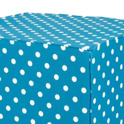 Brooklyn 30-inch Square Turquoise with Dots Indoor/Outdoor Ottoman