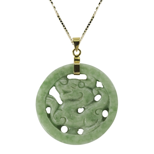 gold yellow green necklace dangle x inch small pendant watches circle product jade jewelry