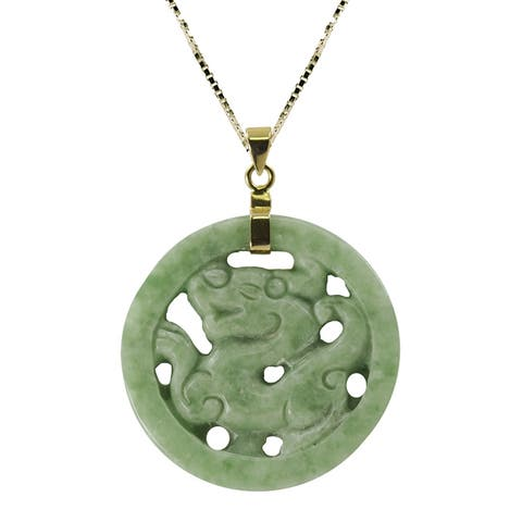 Gems For You 14k Gold over Silver Jade Dragon Necklace