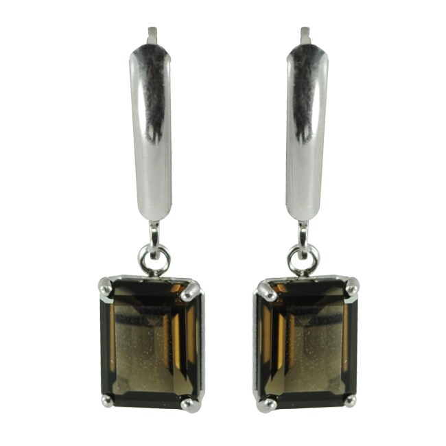 Gems For You Sterling Silver Smokey Quartz Leverback Earrings