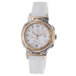 Tissot Women's 'T Race' White Dial Two-tone Chronograph Watch