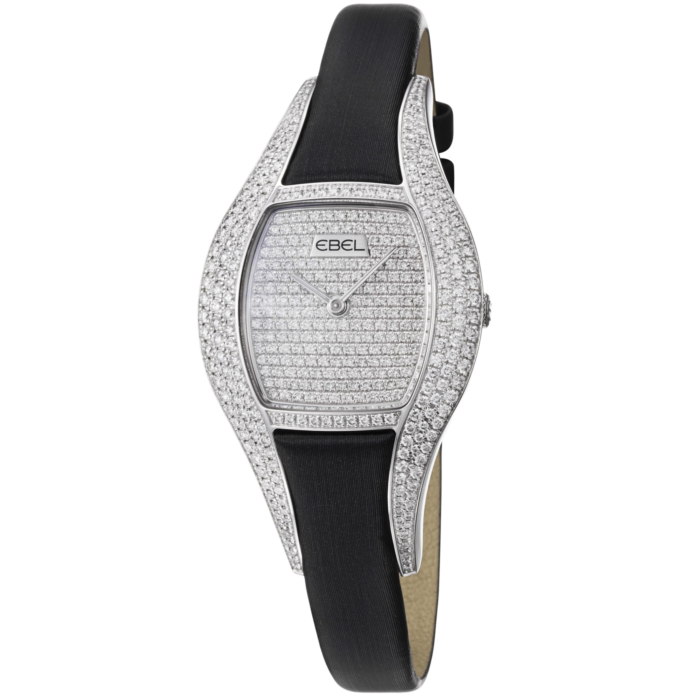 Ebel Women's 'Moonchic' Diamond Pave Dial Black Satin Strap Watch
