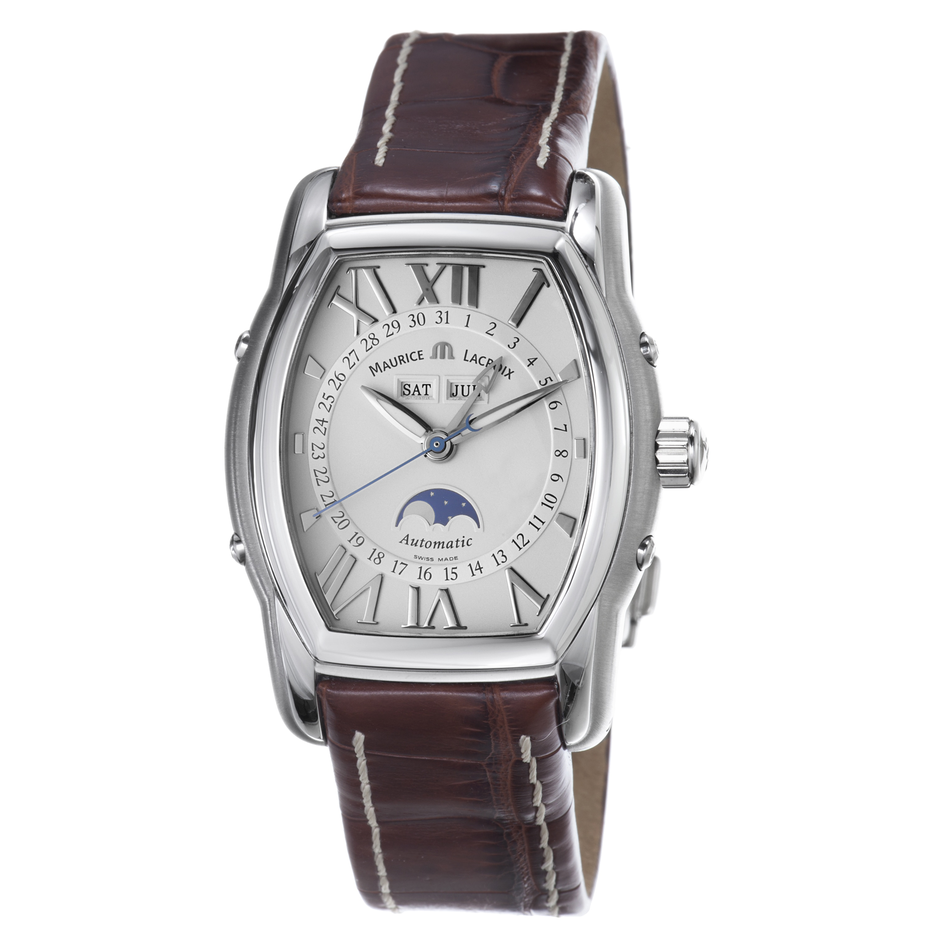 Maurice Lacroix Men's 'MasterPiece' Silver Dial Moon Phase Watch
