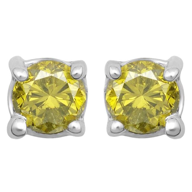 10k White Gold 1/4ct TDW Treated Yellow Diamond Stud Earrings
