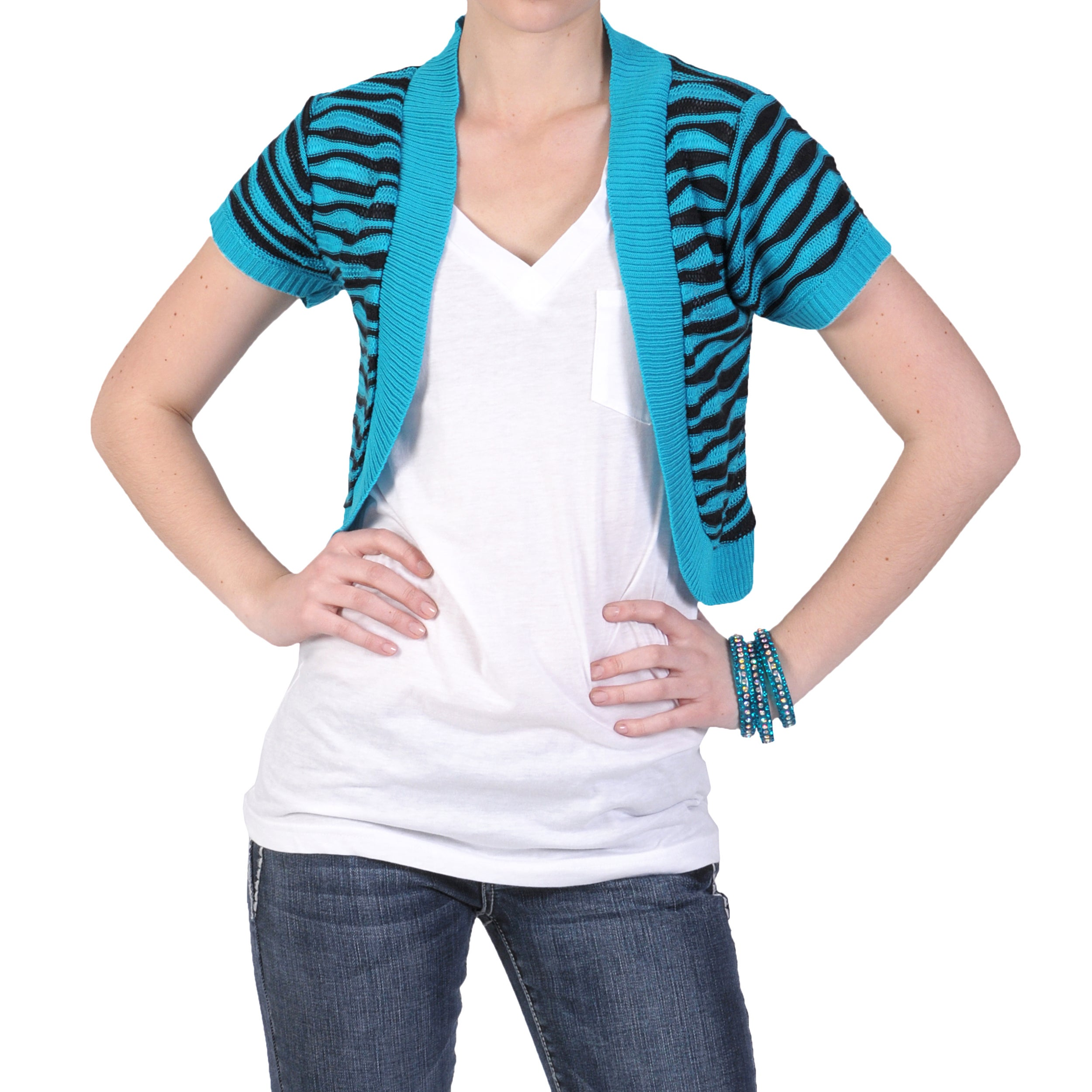 Journee Collection Juniors Short-sleeve Open Front Striped Shrug