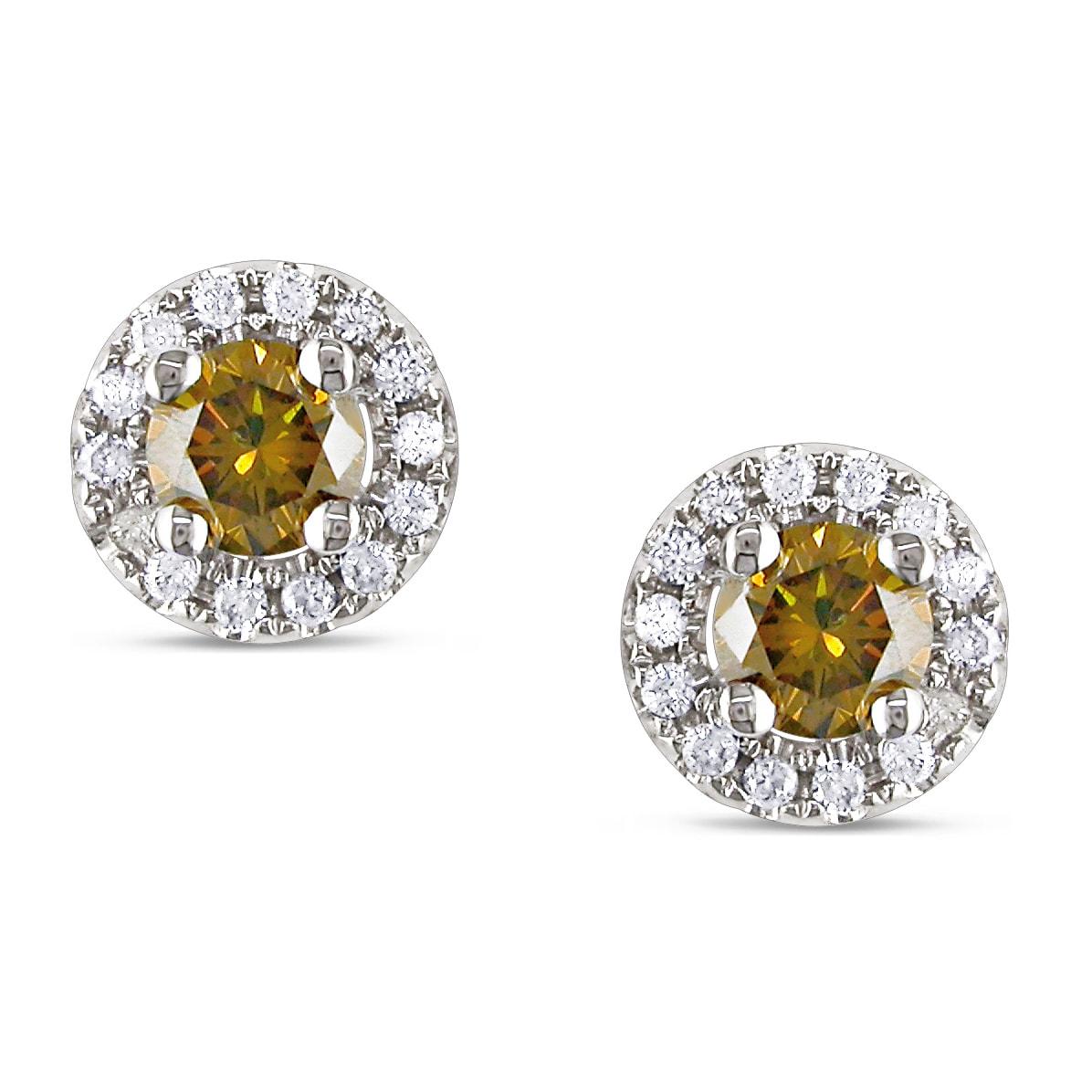 Miadora 14k White Gold 3/5ct TDW Cognac and White Diamond Halo Earrings(G-H, SI2)