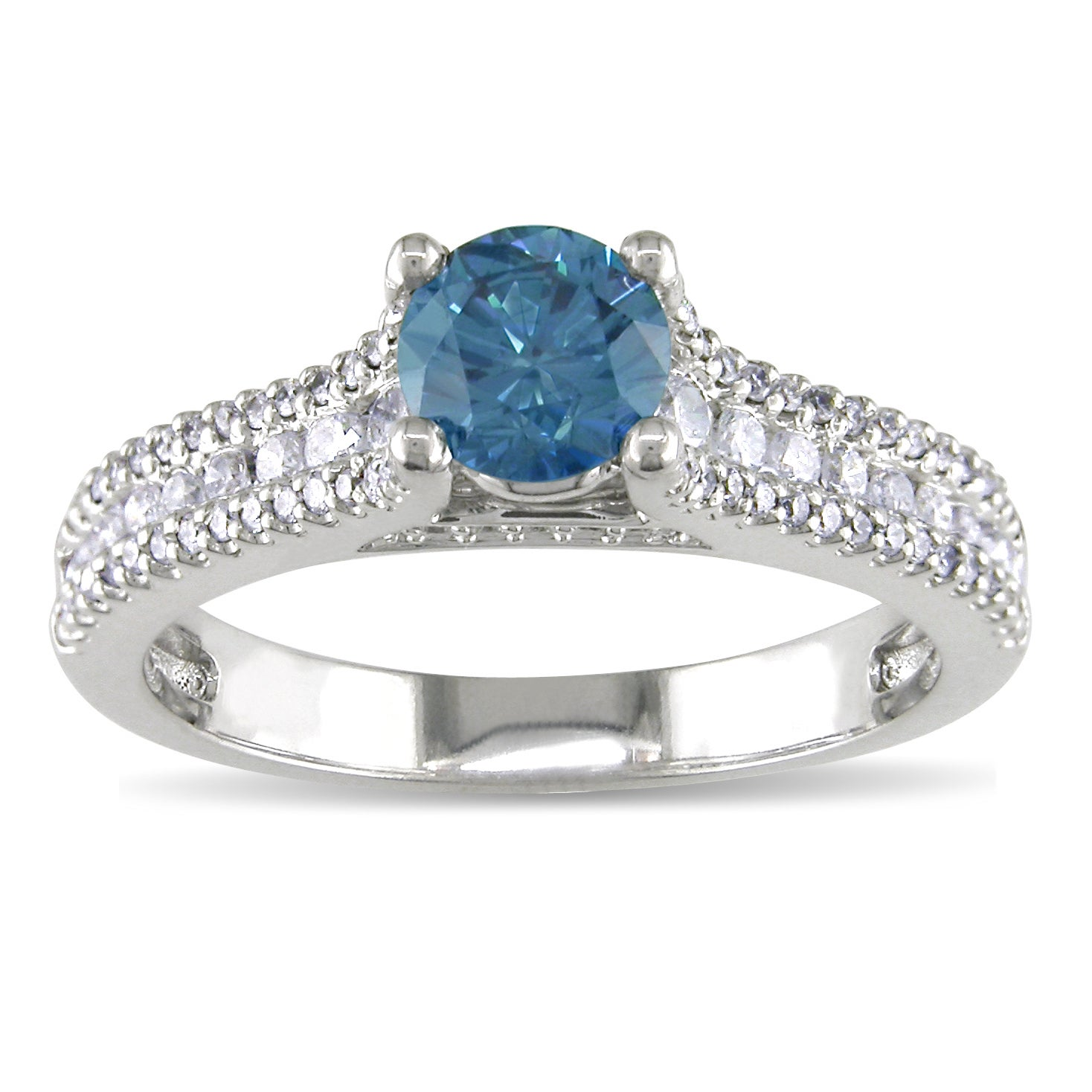 Miadora 14k White Gold 1ct TDW Blue and White Diamond Ring