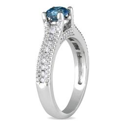 Miadora 14k White Gold 1ct TDW Blue and White Diamond Ring - Thumbnail 1
