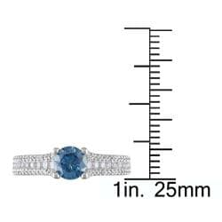 Miadora 14k White Gold 1ct TDW Blue and White Diamond Ring - Thumbnail 2