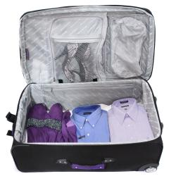 Bell + Howell Purple Quick Access 4-piece Expandable Luggage Set - Thumbnail 2
