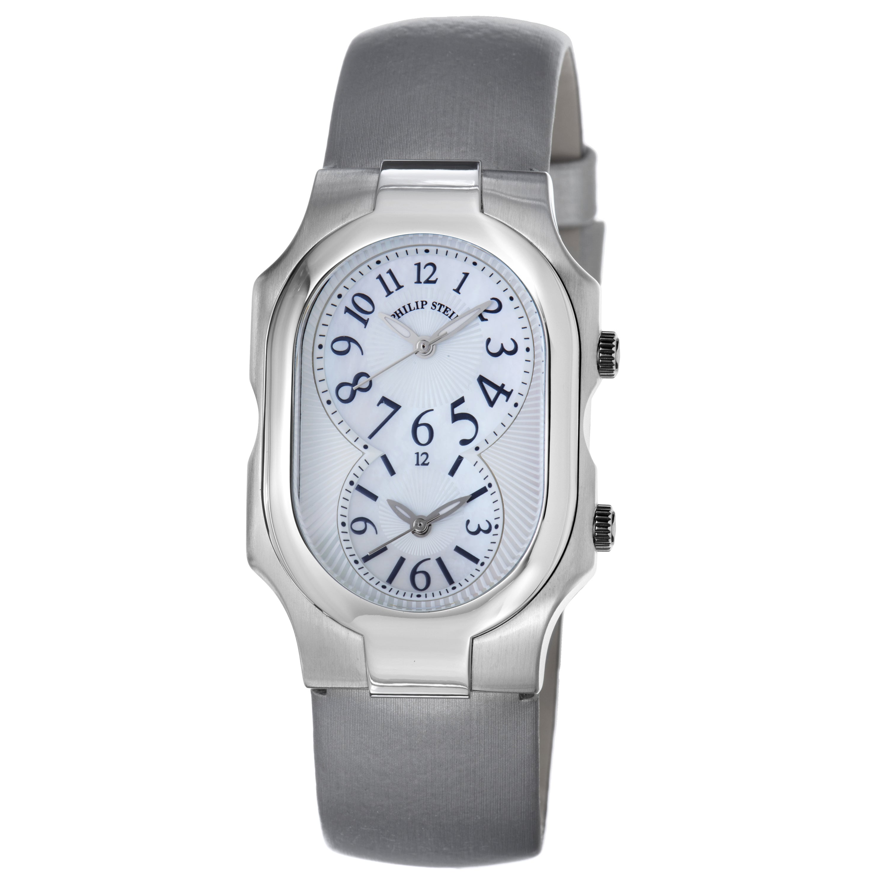 Shop philip stein women 39 s 39 signature 39 platinum silk strap dual time watch free shipping today for Philip stein watches