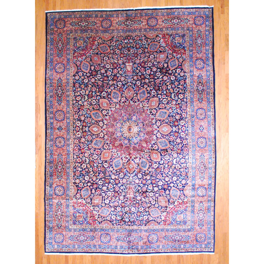 Persian Hand-knotted Tabriz Navy/ Orange Wool Rug (11'3 x 16'5)