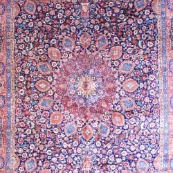 Persian Hand-knotted Tabriz Navy/ Orange Wool Rug (11'3 x 16'5) - Thumbnail 1