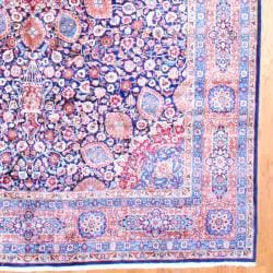 Persian Hand-knotted Tabriz Navy/ Orange Wool Rug (11'3 x 16'5) - Thumbnail 2