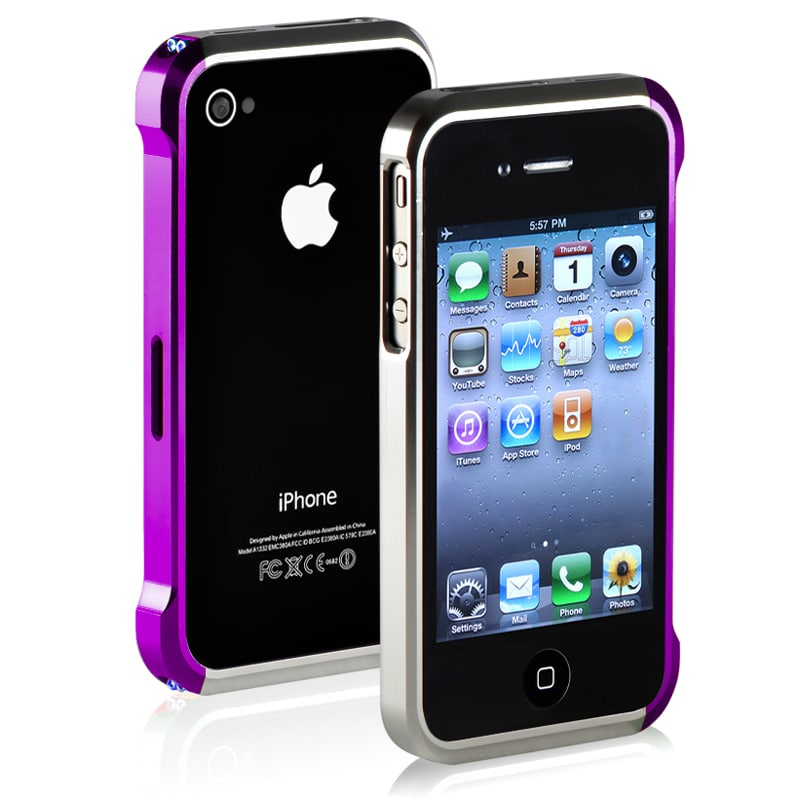 Purple/ Silver Metal Bumper for Apple iPhone 4/ 4S