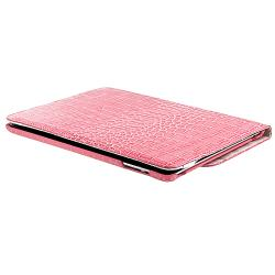 Pink Crocodile Skin 360-degree Swivel Leather Case for Apple iPad 2/ 3