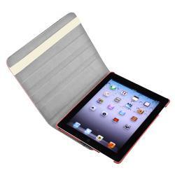 Pink Crocodile Skin 360-degree Swivel Leather Case for Apple iPad 2/ 3