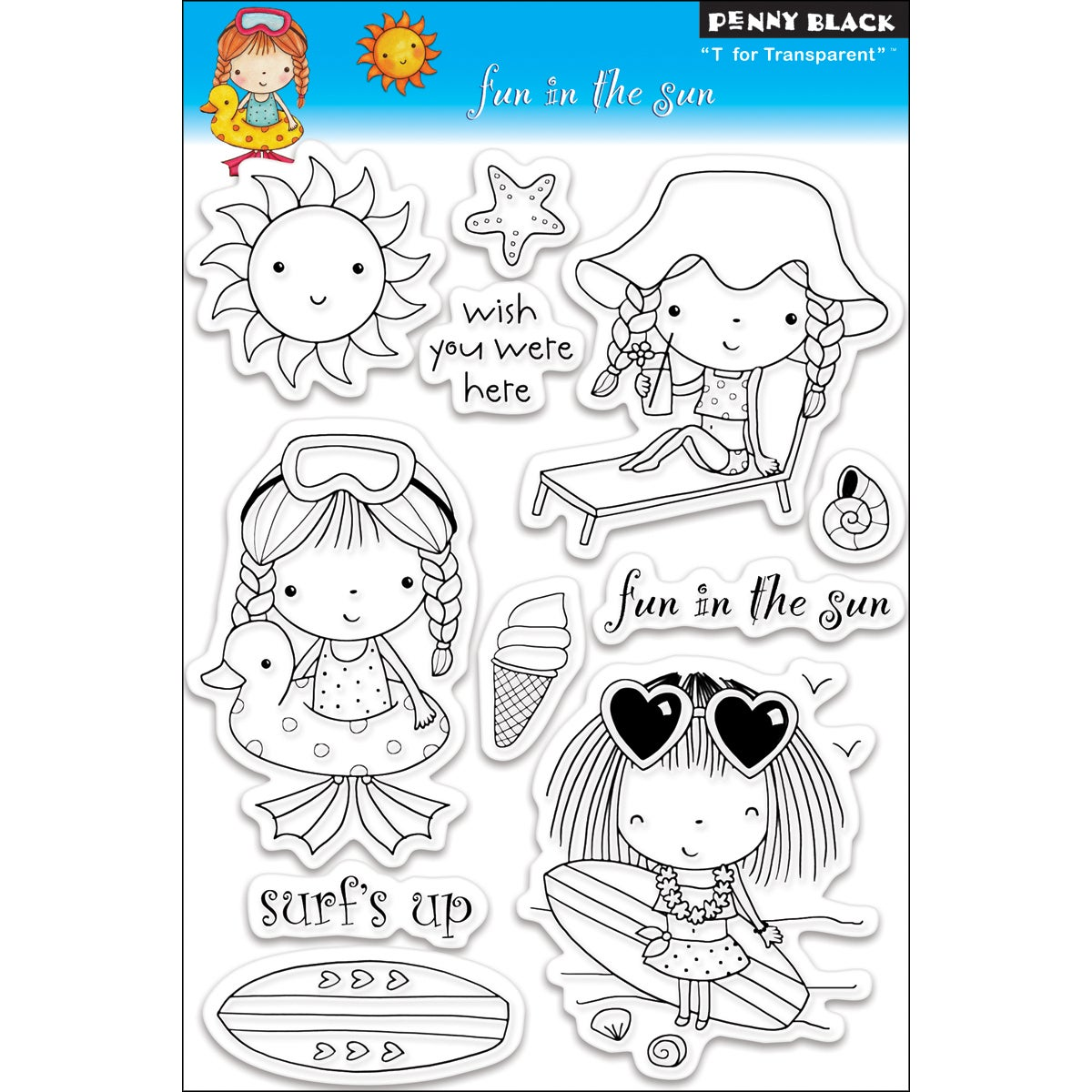 Penny Black 'Fun In The Sun' Clear Stamps