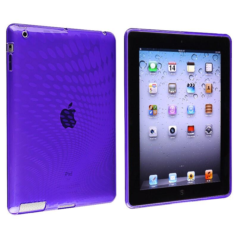 Clear Purple Leopard TPU Rubber Skin Case for Apple iPad 3