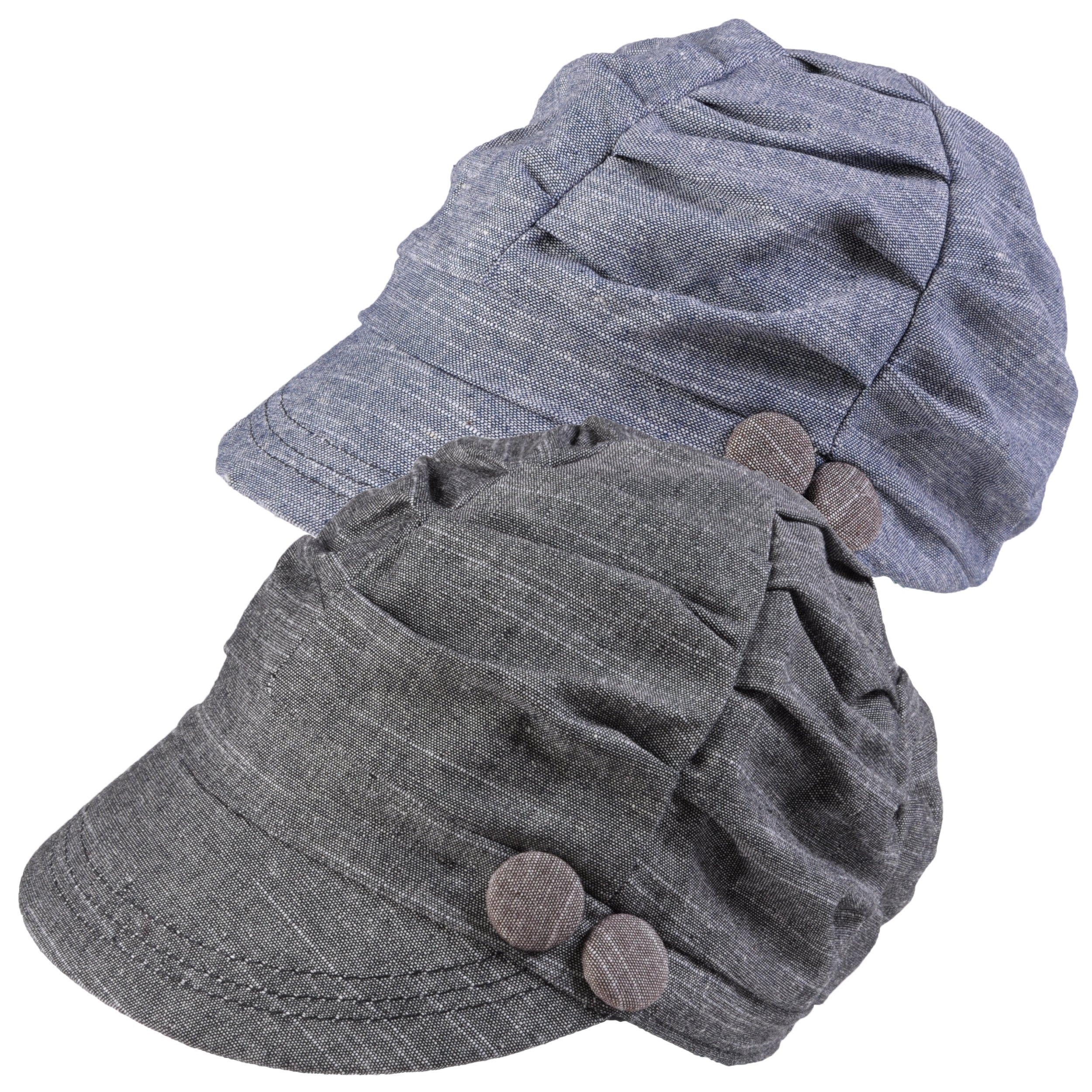 Hailey Jeans Co. Women's Ruched Crown Button Accent Tweed Cap