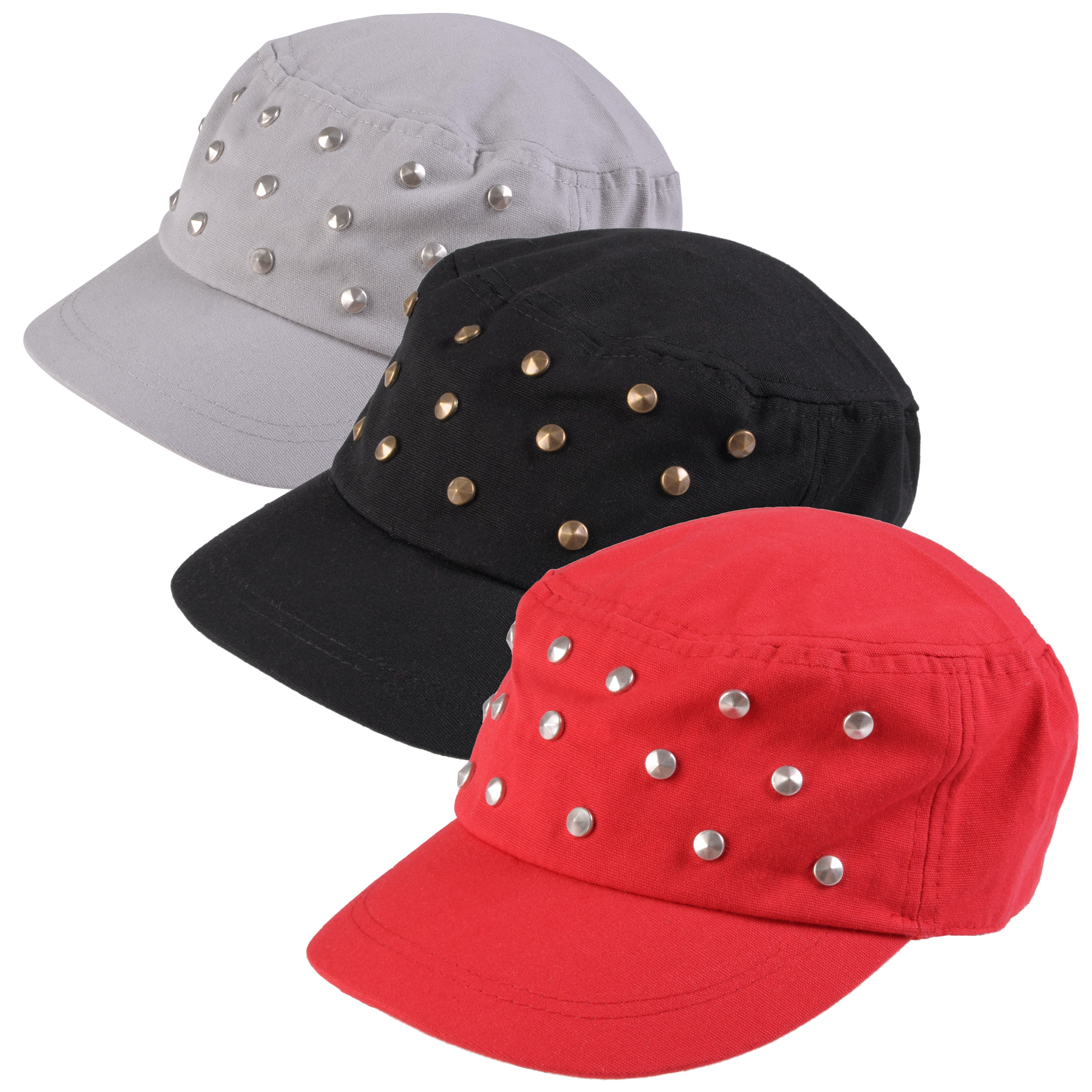 Journee Collection Women's Studded Adjustable Military Cap